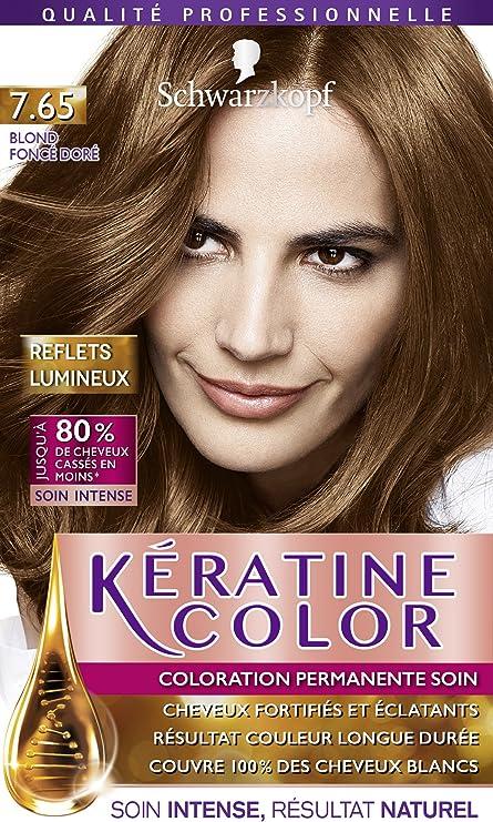Keratin Color coloración permanente rubio miel 7.65.