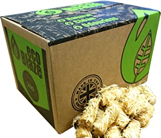 Encendedores Naturales de Eco Blaze - Cera Natural Cubierta con Lana de Madera de Abeto y Caja 200. Arrancadores de incendios para estufas de leña, estufas, carbón de leña, chimeneas y fogatas