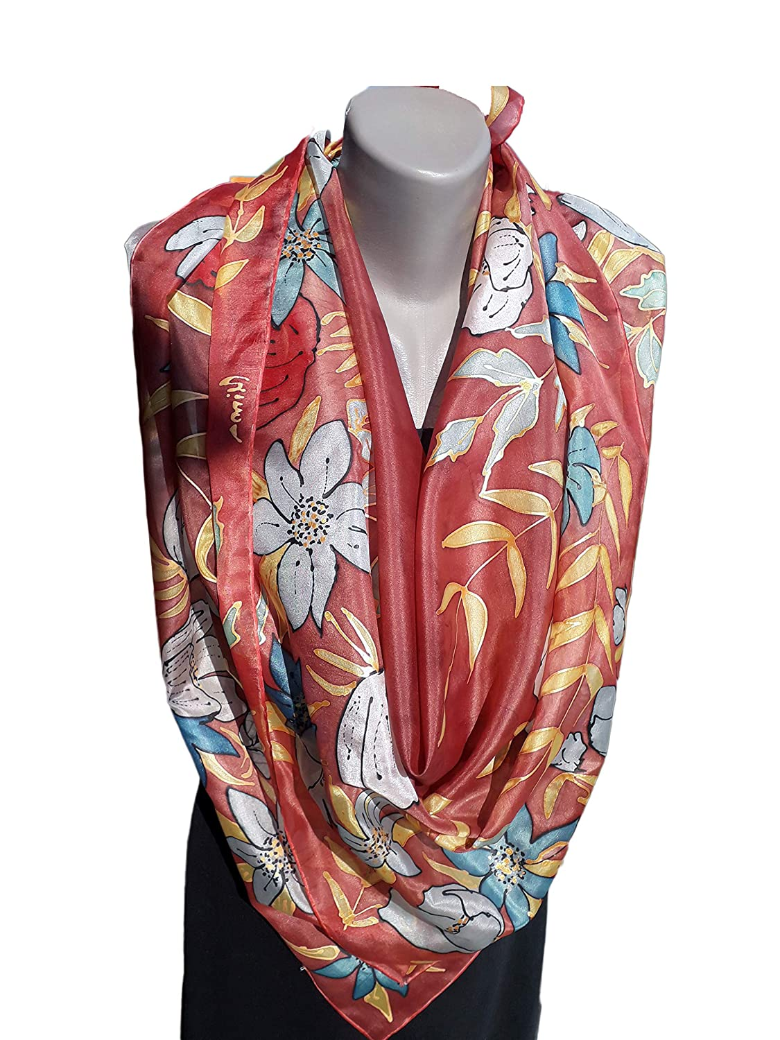 COLORFUL MORNING Award-winning store Hand Painted Pure Super special price Woman Scarf Silk
