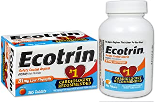 Ecotrin Low Strength Safety Coated Aspirin   NSAID   81mg   365 Tablets