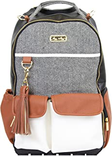 Itzy Ritzy Diaper Bag Backpack – Large Capacity Boss Backpack Diaper Bag Featuring Bottle Pockets, Changing Pad, Stroller Clips and Comfortable Backpack Straps, Coffee and Cream
