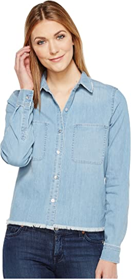 Step Hem Denim Shirt in Skyway Authentic Blue