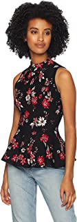 MILLY Women's Knit Twilight Floral Sleeveless Peplum Flare Shell Top