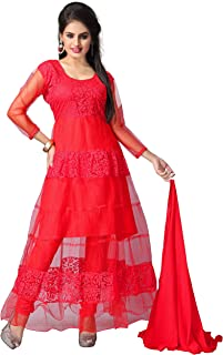 Clickedia Women Brasso & Net Semi-Stitched Salwar Suit Set (R0001 _Red _Free Size)