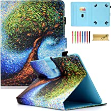 Dteck 6.5-7 Inch Universal Case with [Stylus Pen], Pretty Cute Flip Stand Case PU Leather Protective Pocket Holder Cover for Samsung/Kindle/Huawei/Lenovo/Nook 7.0 Inch Tablet-Nature Tree