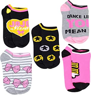 Nickelodeon Little Girls JoJo Siwa 5-Pack No Show Socks, Shoe Size 10-4