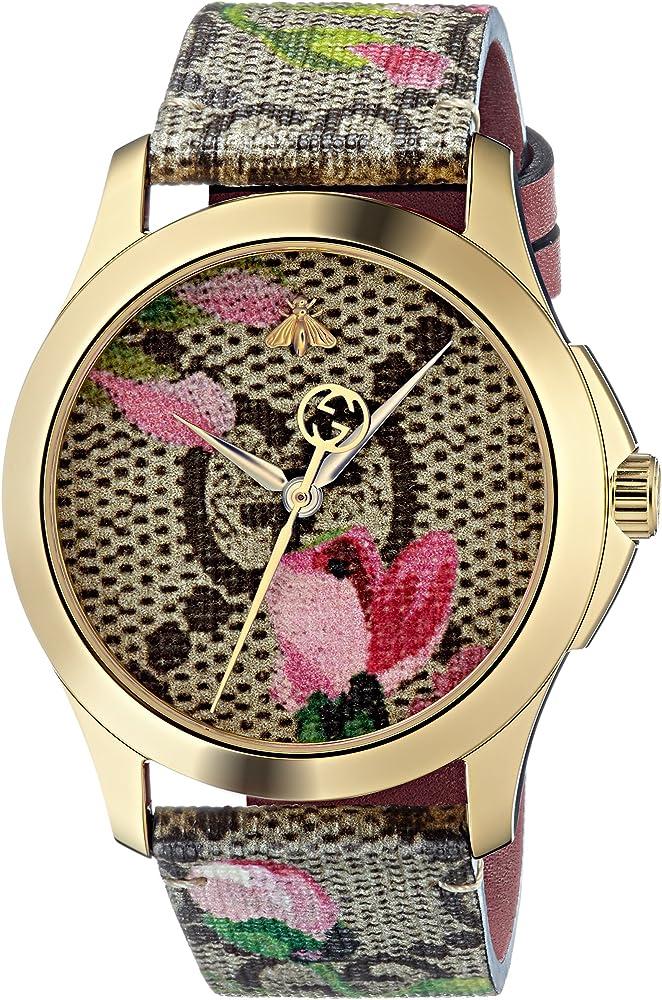 Gucci orologio da donna cassa in pvd giallo e cinturino in tela gg e pelle YA1264038