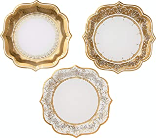 TALKING TABLES PARTY PORCELAIN GOLD Paper Plates Party Decorations, Pack of 12, Dia 20cm, 8