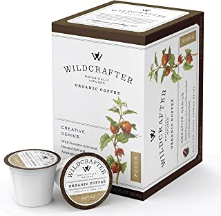 Wildcrafter Botanicals Organic Coffee K Cups - Natural Focus & Genius Brain Booster Infused with Ashwagandha & Bacopa Herbal Blend. 12 Dark Roast Nootropic Pods - Works with K-Cup Brewers & Keurig 2.0