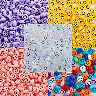 500 Round Smiley Face Beads Bulk for Jewelry Making and Bracelets, Necklaces, Diameter 10mm, Aperture 2mm, Thickness 6mm