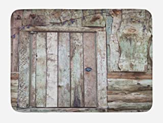 Ambesonne Rustic Bath Mat, Old Rustic Barn Door Cottage Country Cabin Theme Rural Mystic Entrance of Home, Plush Bathroom Decor Mat with Non Slip Backing, 29.5