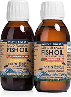 Wiley's Finest Wild Alaskan Fish Oil with EPA/DHA - Mango Peach for Kids, Strawberry Watermelon with Easy-Serve Syringe for Toddlers