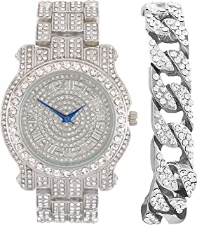 Best Bling-ed Out Silver Round Luxury Mens Watch w/Bling-ed Out Cuban Bracelet - L0504B - Cuban Review