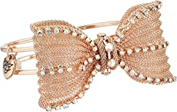 Betsey Johnson Rose Gold Pave Bow Hinge Bracelet
