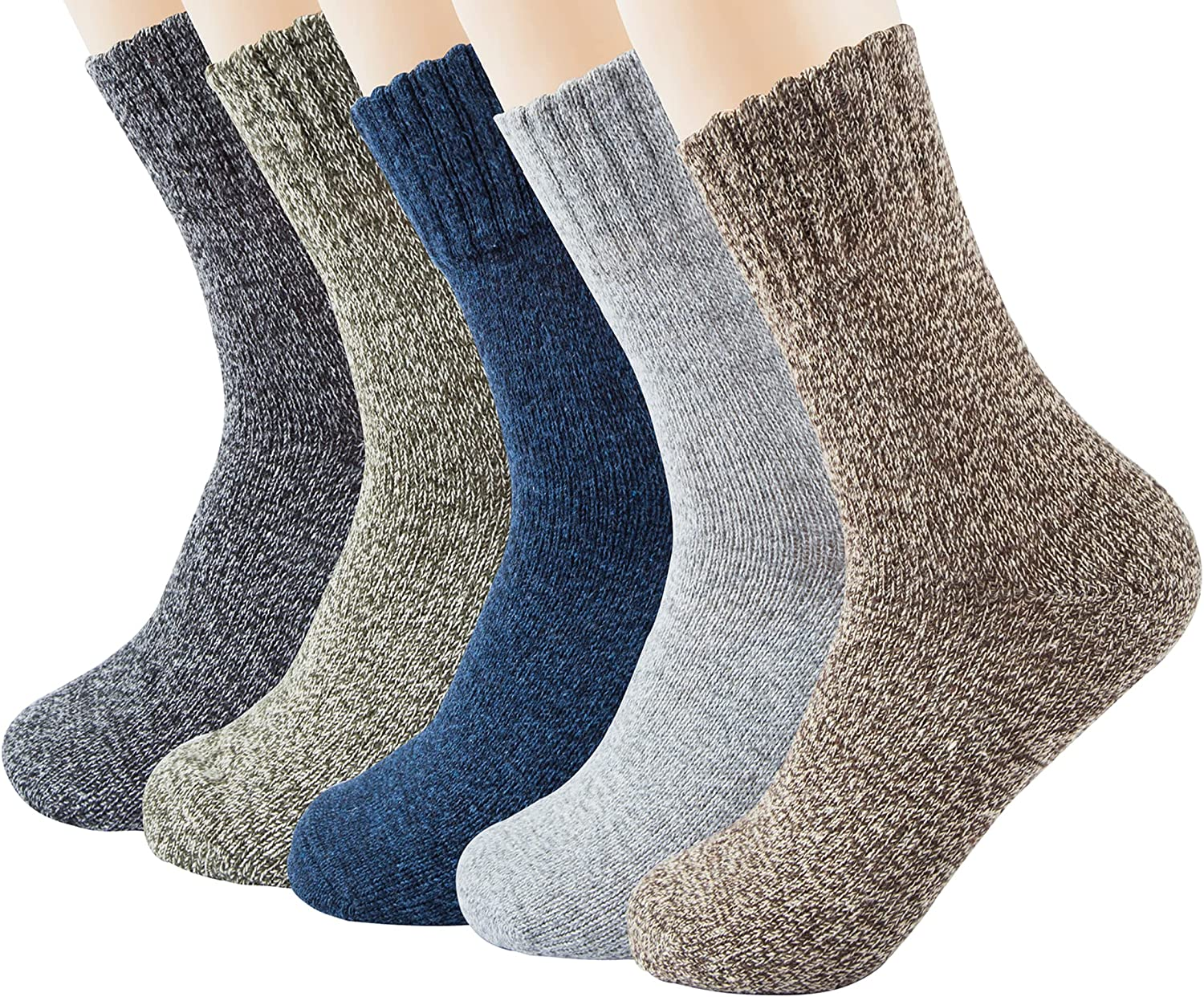 5 Pairs Womens Wool Socks Winter Warm Thick Knit Cabin Cozy Casual Crew Socks Gifts