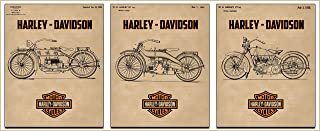 Harley Davidson Original Patent 3 Pack of 1919,1924, and 1928 Motorcycle (8 inches by 10 inches)
