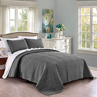 PURE BEDDING Quilt Set Full/Queen Size Dark Grey - Oversized Bedspread - Soft Microfiber Lightweight Coverlet for All Season - 3 Piece Includes 1 Quilt and 2 Shams, Geometric Pattern