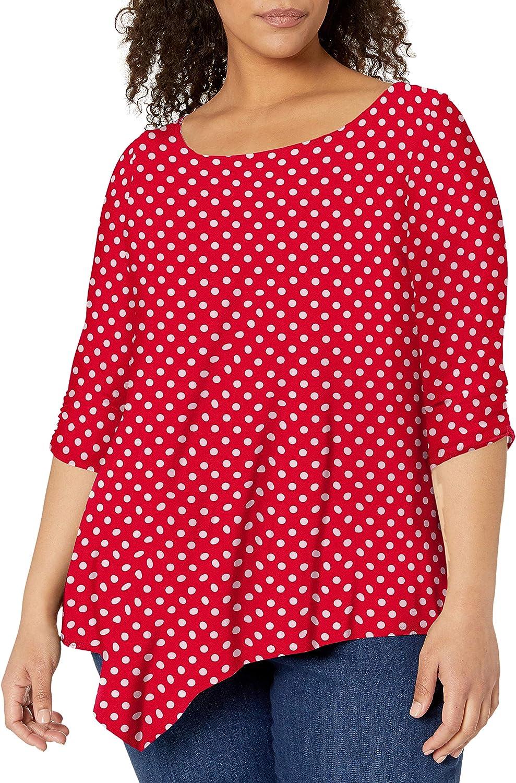 Star Vixen Women's Plus-Size Elbow-Cinch Sleeve Hanky Hem Top