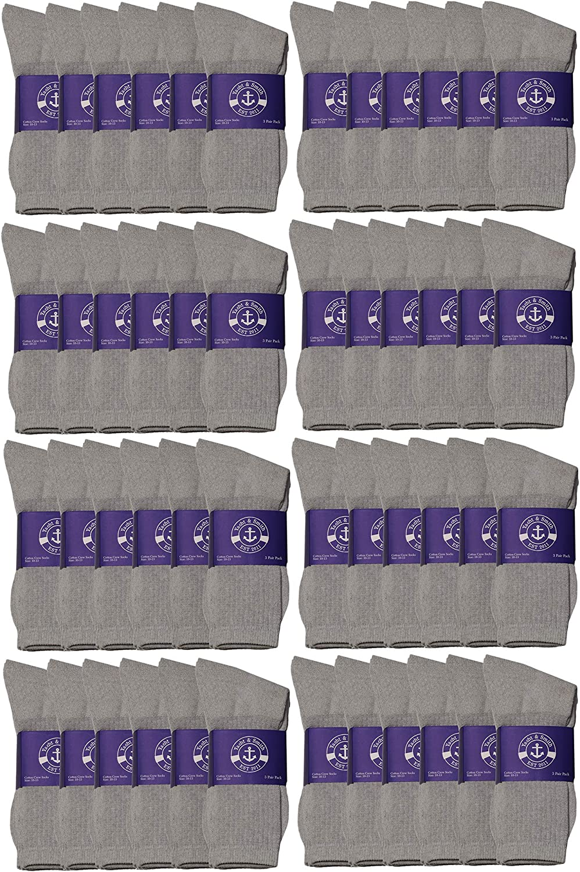 48 Pair Pack of Mens & Womens Lightweight Cotton Crew Socks Bulk, Homeless Donation Cheap, Wholesale Sock