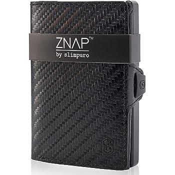 ZNAP Porte Carte Homme - Portefeuille avec Étui à Monnaie en Aluminium - Porte Carte de Credit Carbone - Jusqu'à 4-8 Cartes - Porte Billets Cartes avec Blocage Anti RFID