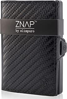 ZNAP Credit Card Holder Wallet with Money Clip - Aluminium Wallet with Coin Case - RFID Blocking - Slim Wallet Carbon - Up...