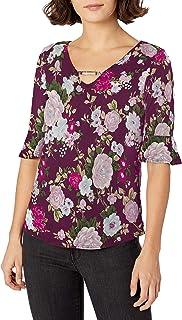 Star Vixen Women's Bell Sleeve Keyhole Front Top Shirt