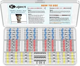 Kuject 120 STKS Soldeer Seal Wire Connectors, Waterdichte Heat Shrink Butt Connector Soldeer Sleeve Self-Soldeer Geïsoleer...