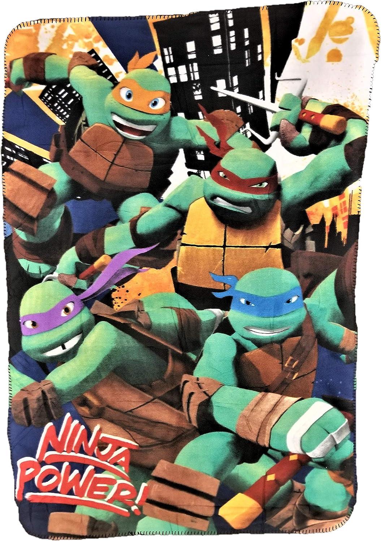 Turtles Mutant Ninja Turtles Fleece Throw Blanket Featuring TMNT Characters Raphael, Michelangelo, Leonardo, and Donatello