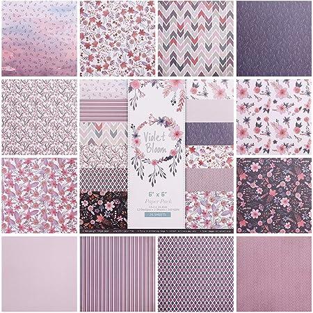 Hileyu 24pcs Papier à Motifs Motif Papier Ensemble 6inch Bloc de Papier de Scrapbooking Simple Face Papier décoratif Cartes Scrapbook Décoration Purple