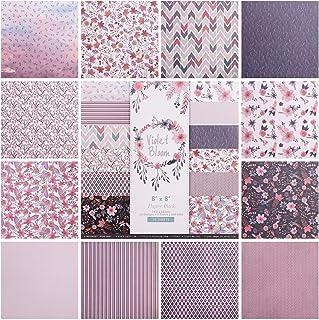 Hileyu 24pcs Papier à Motifs Motif Papier Ensemble 6inch Bloc de Papier de Scrapbooking Simple Face Papier décoratif Carte...