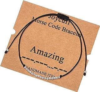 JoycuFF Morse Code Bracelets Inspirational Dainty Bangle for Women Mom Daughter Sister Birthday Gifts Handmade Trendy Jewe...