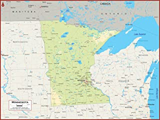 36 x 27 Minnesota State Wall Map Poster with Topography - Classroom Style Map with Durable Lamination - Safe for Use with Wet/Dry Erase Marker - Brass Eyelets for Enhanced Durability