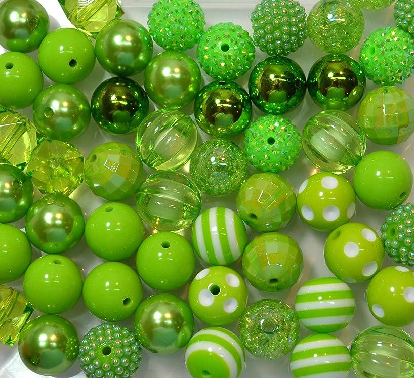 20mm Bulk Mix of 52 Lime Green Chunky Bubblegum Beads 11 Styles Acrylic Gumball Beads Lot