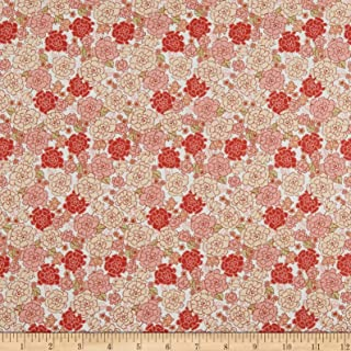 In The Beginning Fabrics Garden Delights Carnation Fabric, Coral/White, Fabric By The Yard