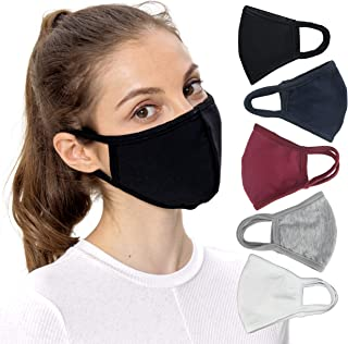 Solid Color Face Masks with Nose Wire for Adult Unisex, Pack of 5: Black Gray White Navy Blue Burgundy Red, Washable Reusable