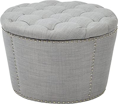 OSP Home Furnishings Lacey 2-Piece Nesting Storage Ottoman with Tufted Top and Nailhead Accents, Milford Dove