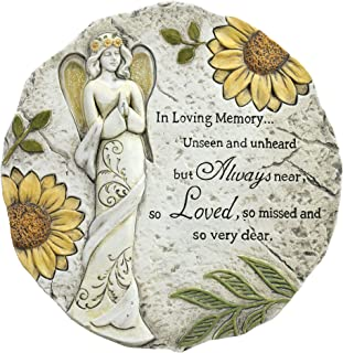 Napco in Loving Memory Always Loved Floral Angel 11 x 11 Inch Resin Bereavement Garden Stepping Stone