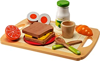 Dragon Drew Kids Wooden Kitchen Play Set – 13 Piece Breakfast Kit with Bread, Cheese, Fruit, Milk, Tray, Cup, Plate, Spoon and Knife - Nontoxic Paint, Child and Toddler Safe – for Ages 3+