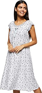 Women's Floral Pattern Short Night Dress Loose Stretchable Short Gown Short Sleeve, Black