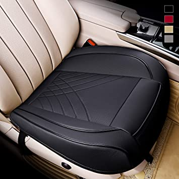 kingphenix Premium PU Car Seat Cover - Front Seat Protector Works with 95 % of Vehicles - Padded, Anti-Slip, Full Wrapping Edge - (Dimensions: 21'' x 20.5'') - 1 Piece, Black: image