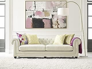 Elle Decor Amery Tufted Sofa, Chenille, Cream
