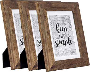 Home&Me Rotten White Picture Frame Wide Molding - Wall Mounting Material Included (5x7-3Pack, Rotten Brown)