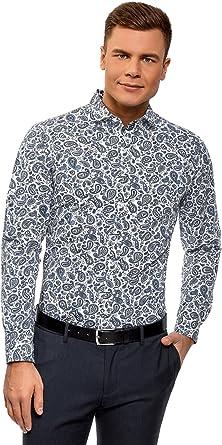 oodji Ultra Hombre Camisa de Algodón con Estampado Paisley