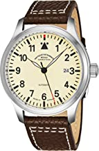 Muhle Glashutte Terrasport I Mens Automatic Pilot Watch - Ivory Face with Luminous Hands, Date and Sapphire Crystal - Stainless Steel Black Leather Band Precision Watch Made in Germany M1-37-37 LB