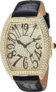 Christian Van Sant Women's Elegant Quartz Watch with Leather Strap, Black, 16 (Model: CV4820)