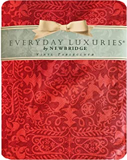 """Newbridge Red Reindeer Damask Christmas Vinyl Flannel Backed Tablecloth - Red Christmas Tree, Reindeer and Sleighbell Medallion Holiday Wipe Clean Easy Care Tablecloth, 70"""" Round"""