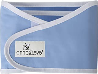 Anna & Eve - Baby Swaddle Strap, Adjustable Arms Only Wrap for Safe Sleeping - Blue, Small
