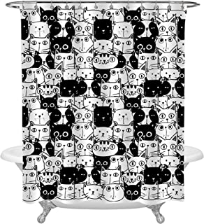 MitoVilla Cartoon Animals Art Deco for Bathroom, Cute Hand Drawn Doodle Cats Black and White Shower Curtain, Funny Gifts for Kids Babies, Birthday Presents Unique Gift Ideas for Adults, 72 x 72 inches