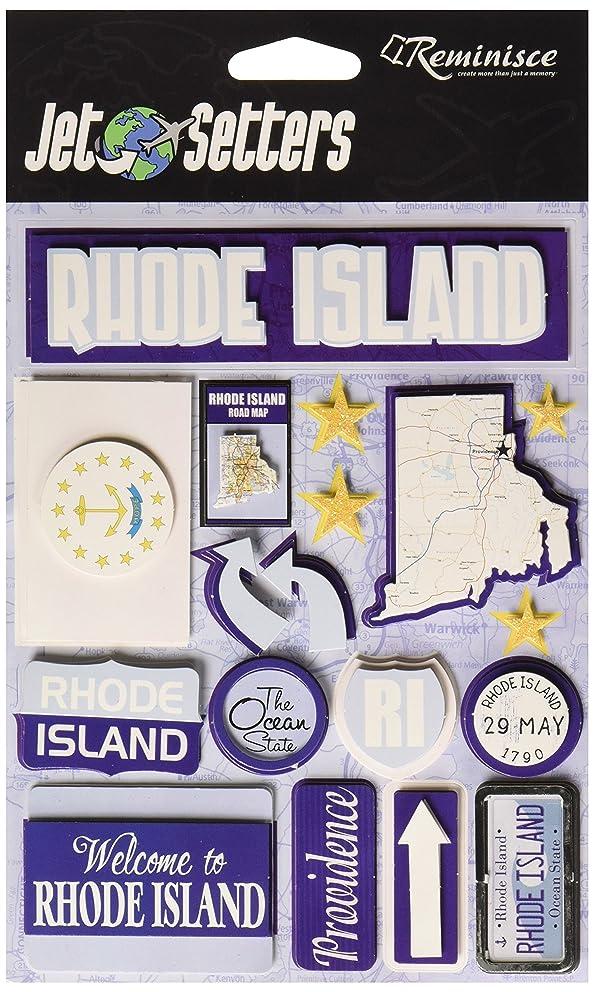 Reminisce Jet Setters Self-Adhesive Epoxy Embellishments, Rhode Island