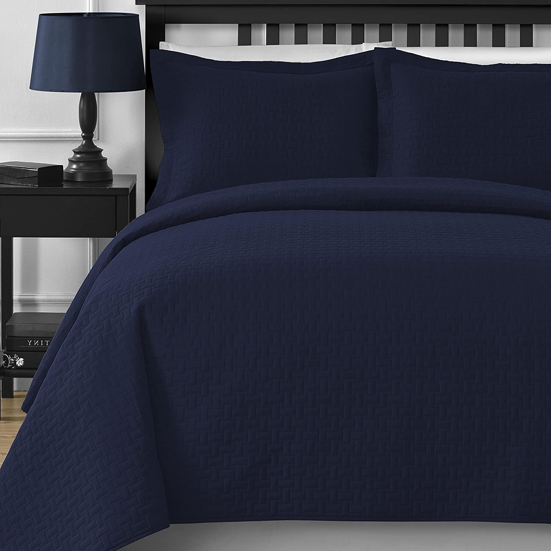 Extra Lightweight Comfy Bedding Frame 3-piece Bedspread Coverlet Set (King Cal King, Navy bluee)